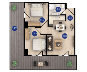 isani דירת 3 חדרים