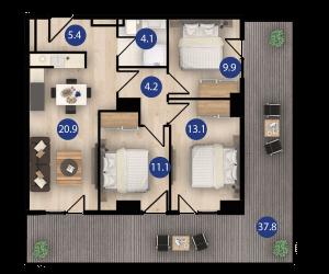 isani דירת 4 חדרים